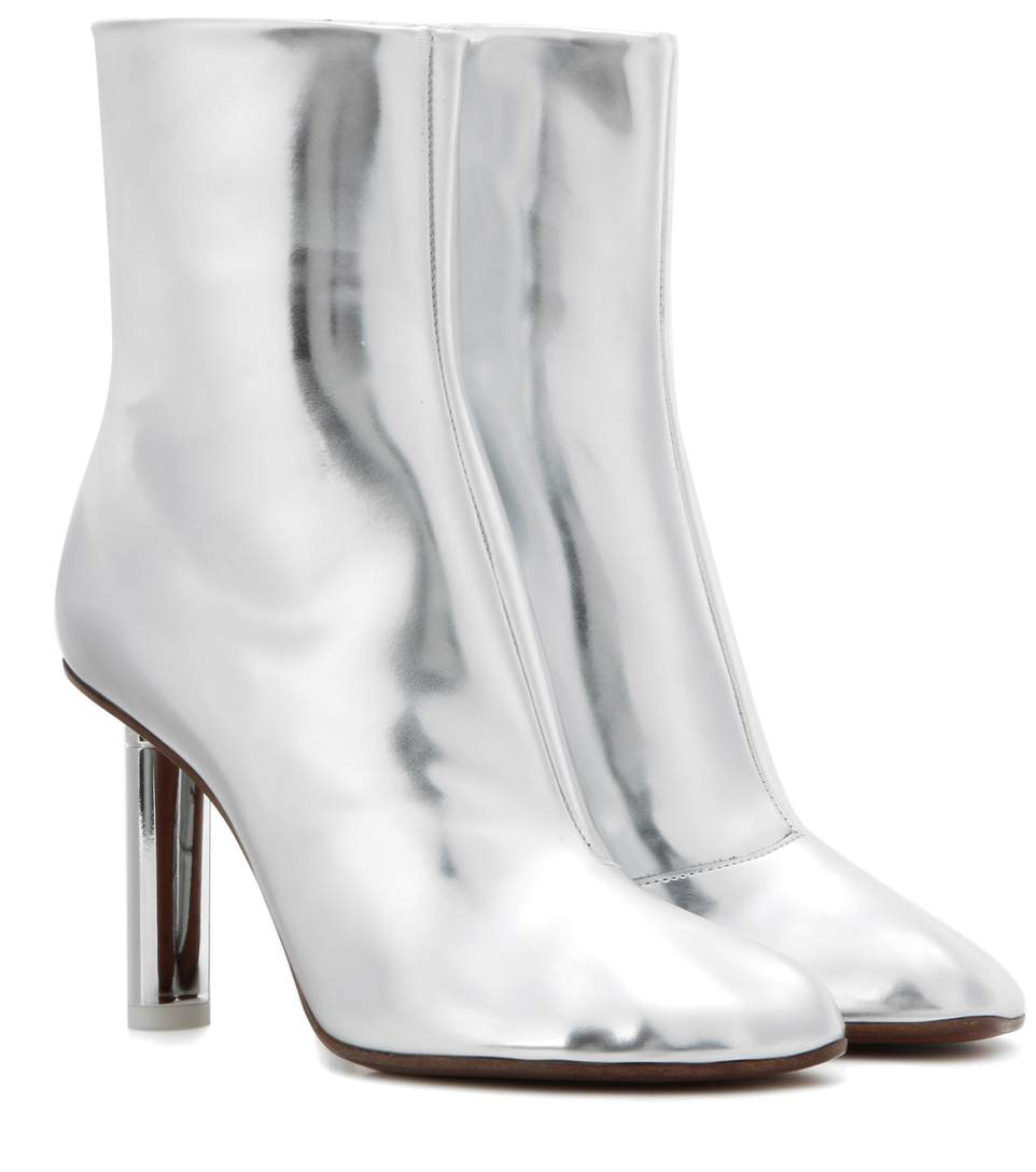 43cf6d579 Vetements Woman Metallic Leather Ankle Boots Silver | ModeSens