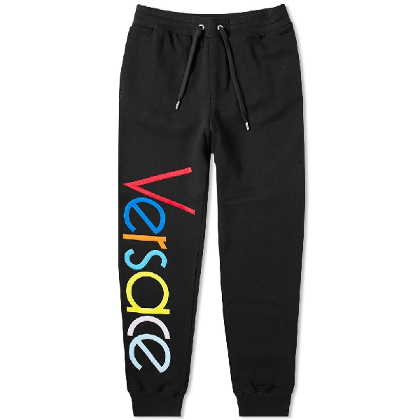 20252037ec Versace Logo Embroidered Multicolour Sweat Pant in Black