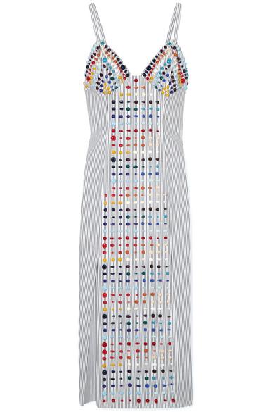 Rosie Assoulin Embellished Striped Cotton-Poplin Midi Dress In White