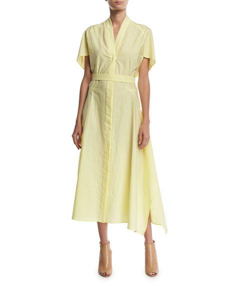 6c500e2832f Narciso Rodriguez Flared-Sleeve V-Neck Poplin Midi Dress In Light Yellow