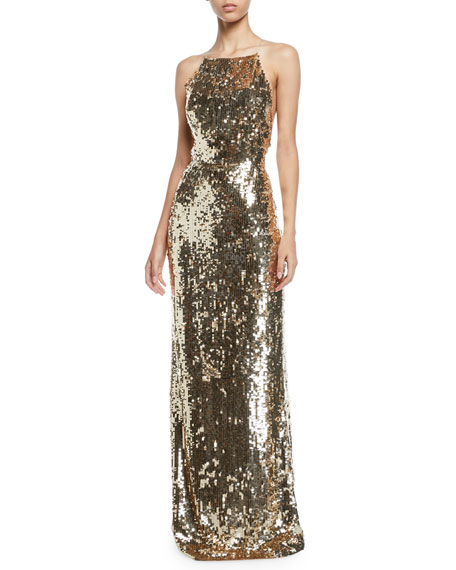 e96bd61ec6 Jason Wu Sequined Georgette Apron Gown In Gold