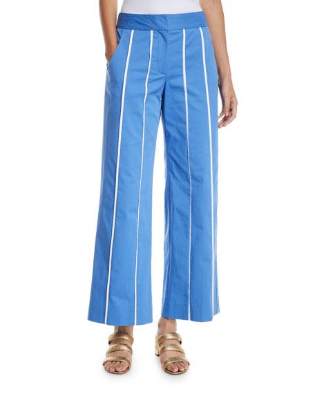 Derek Lam Wide-Leg Striped Culotte Pants In Medium Blue