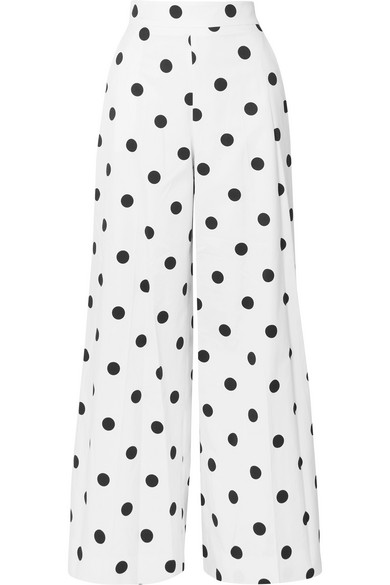 774fd4c3 Polka-Dot Cotton-Twill Wide-Leg Pants in White