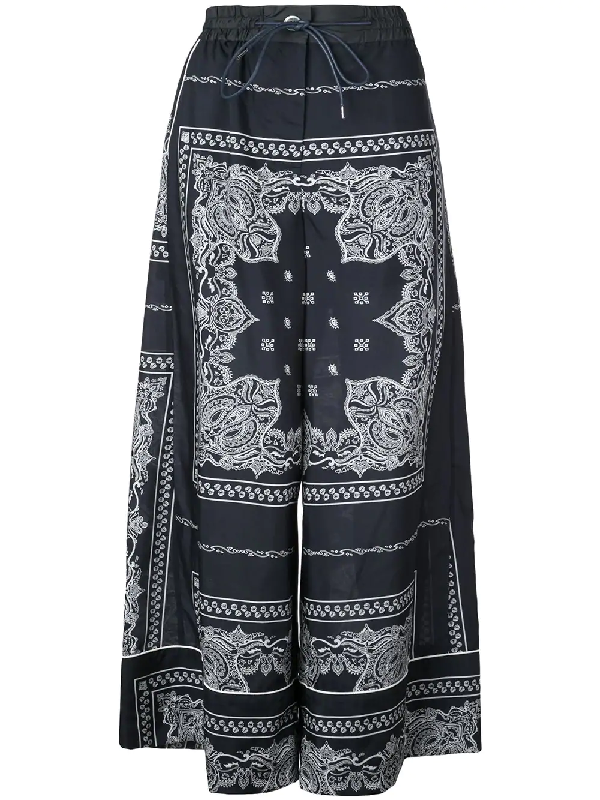 Drawstring Bandana-Print Wide-Leg Pajama Pants in Blue