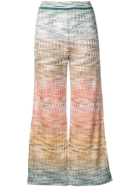 Missoni Zigzag Knit Wide-Leg Pants In Blue