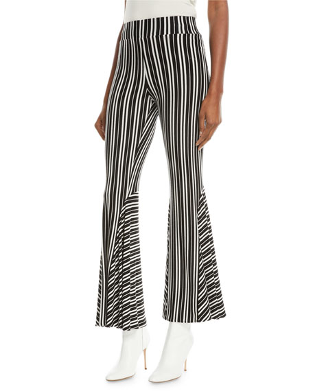 Beaufille Lamos Striped Ribbed Stretch-Knit Flared Pants In Black