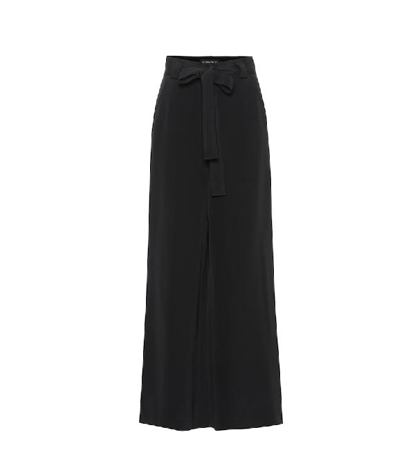 Etro Draped Tie-waist Wide Leg Silk Pants In Black