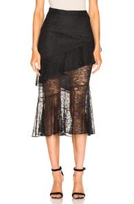 Cushnie High-Waist Fitted Lace Midi Skirt In Black