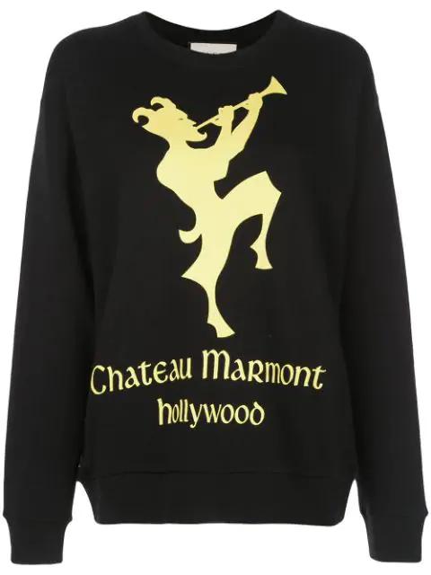 Gucci Oversized Printed Heavy Felt Sweatshirt In Black