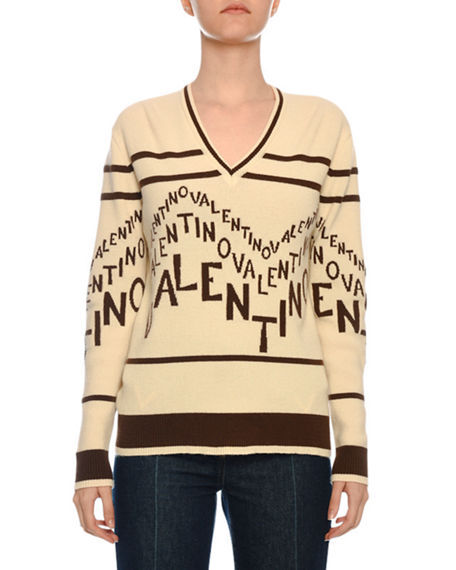 ad40bbd80d8c45 Valentino V-Neck Chevron-Logo Wool-Cashmere Sweater In Brown/White ...