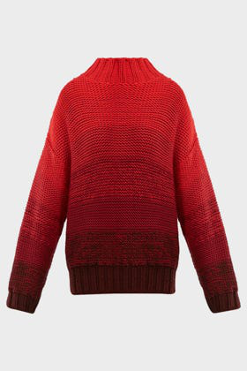 Elizabeth And James Reve Degrade Wool High-neck Sweater In Red Combo