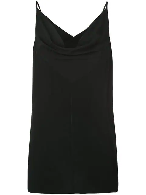 Rick Owens Twisted Cowl-Neck Silk Crepe Tank Top In Black
