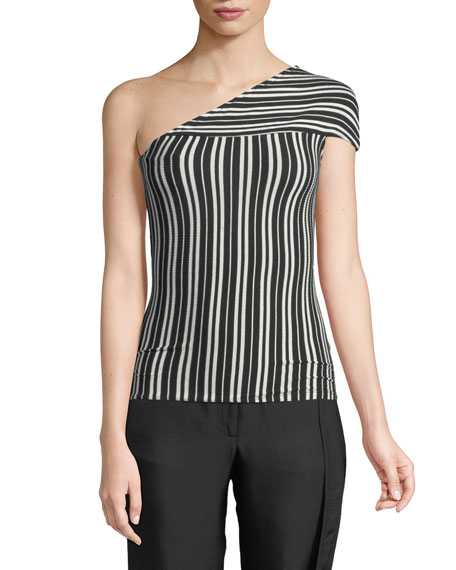 Beaufille Mensa One-Shoulder Striped Ribbed Stretch-Knit Top In Black