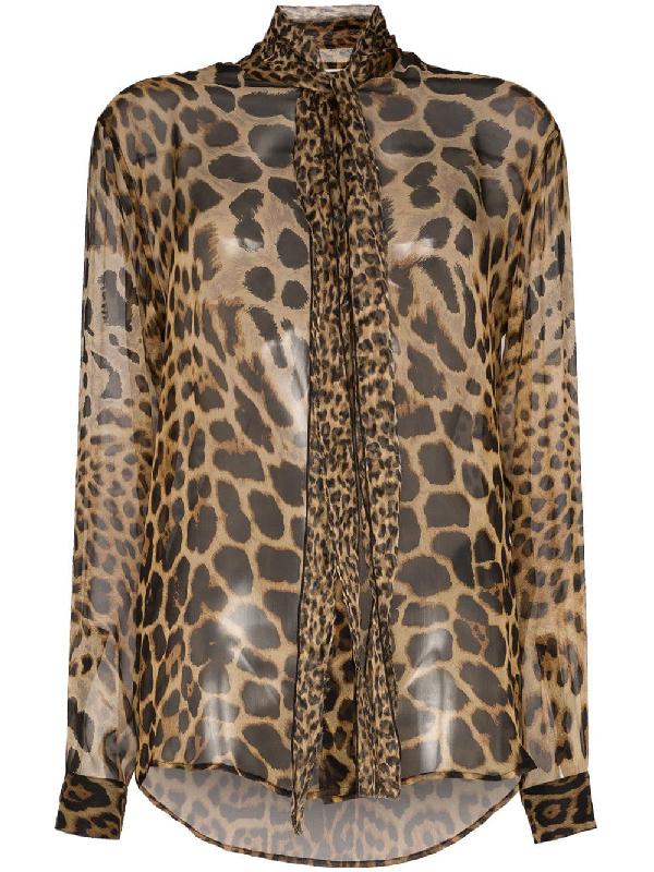 c52e05008193 Saint Laurent Bow Tie Blouse In Ysl Leopard-Print Silk Chiffon In Brown