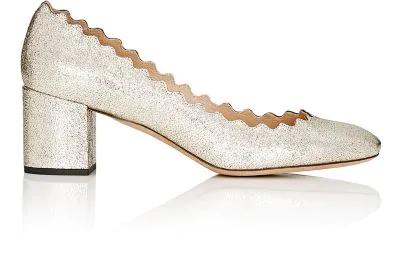 74237ed890b4 ChloÉ Lauren 50Mm Scalloped Metallic Leather Block-Heel Pumps In Gold