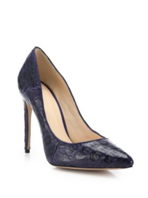 Alexandre Birman Caddy Crocodile Point-Toe Pumps In Indigo