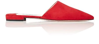 Prada Pointed-Toe Suede Mules In Red
