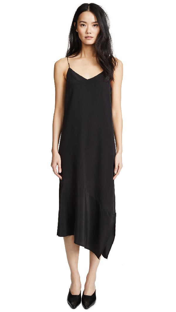 Equipment Jada Asymmetrical Silk Slip Dress In True Black