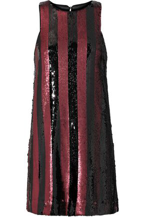 Milly Woman Striped Sequined Satin Mini Dress Brick