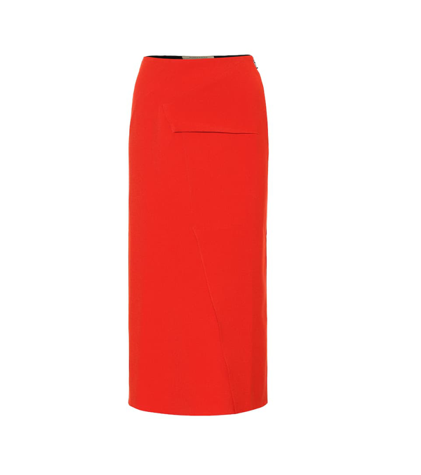 Roland Mouret Abrams Crêpe Pencil Skirt In Red