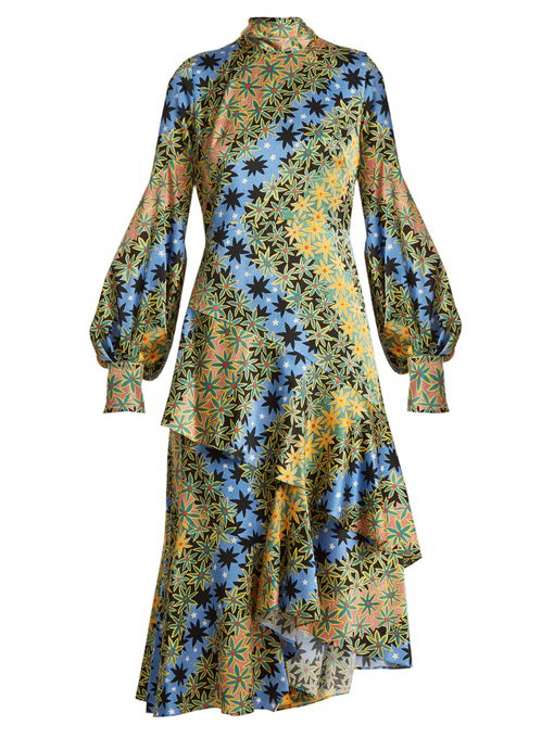 Peter Pilotto Asymmetric Printed Silk-Jacquard Midi Dress In Yellow