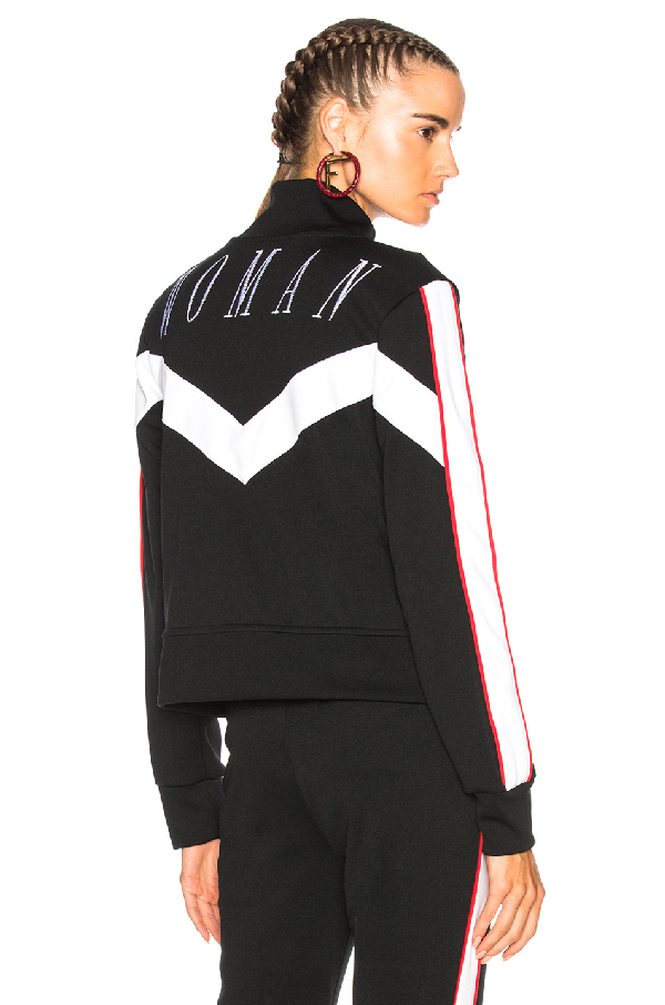 Off-white Woman Embroidered Zip-up Track Jacket In Black