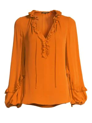 567889bb426dd Kobi Halperin Angie Silk-Blend Ruffled Blouse In Mandarin