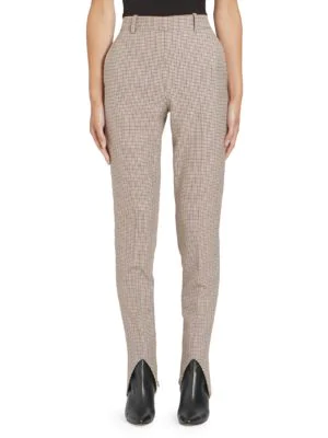 Givenchy Micro Check Stirrup Pants In Natural Multi