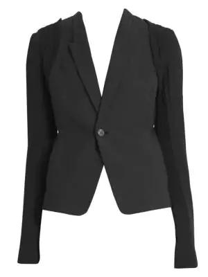 8bb694b2d Short Hustler Draped Wool-Blend Blazer in Black