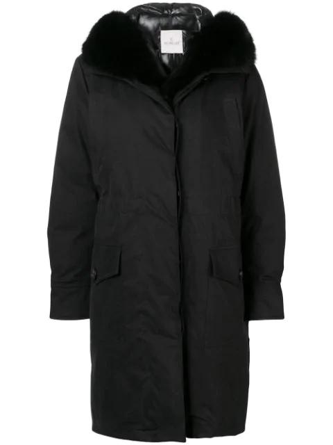 Moncler Hooded Parka Coat In 999 Black