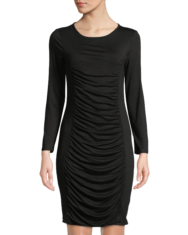 de822670a8f Neiman Marcus Ruched Long-Sleeve Sheath Dress In Black