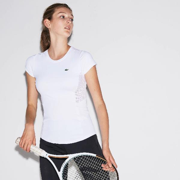 d8cd61b27d Women's Sport Crew Neck Stretch Jersey Tennis T-Shirt in White / White /  White