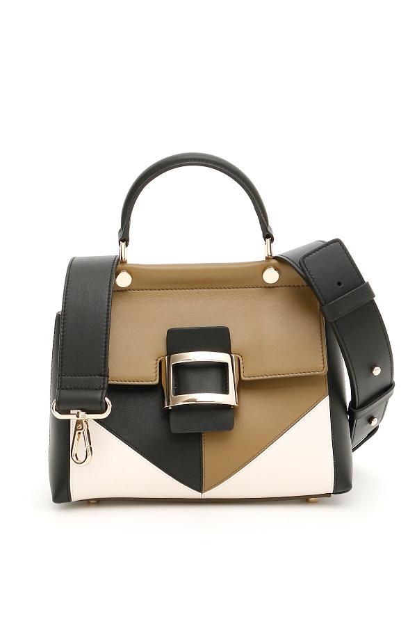 Roger Vivier Patchwork Graphic Mini Viv Bag In Nero Multi (Brown)