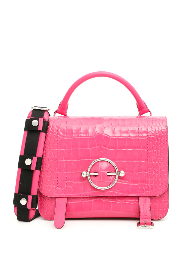 Jw Anderson Large Disc Satchel In Pink,fuchsia