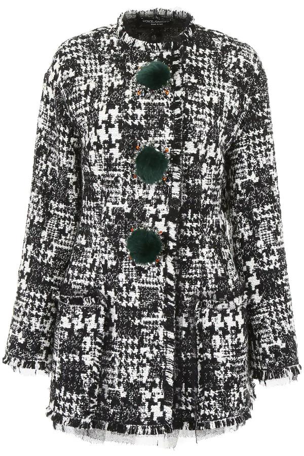 Dolce & Gabbana Tweed Blazer With Crystals In White,black