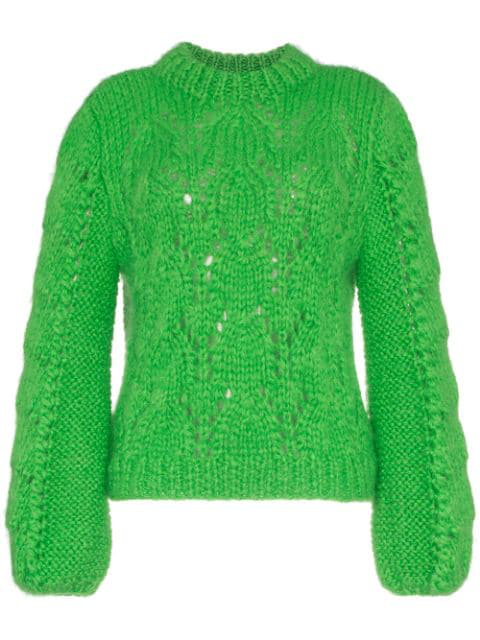 Ganni Julliard Cable-knit Mohair And Wool-blend Jumper In Green