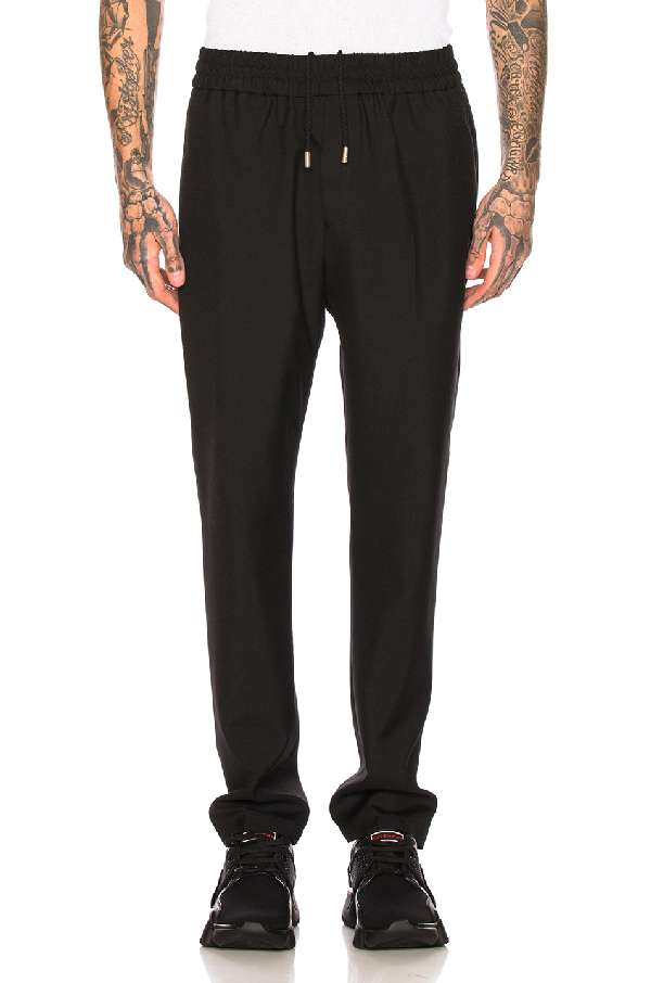 Givenchy Black Logo-Embroidered Wool-Twill Trousers