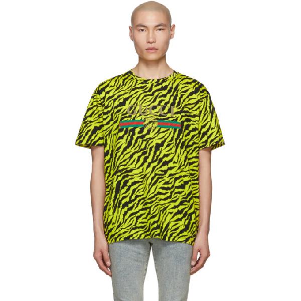 612d28e8 Gucci Men's Tiger Logo T-Shirt, Yellow/Black In 7149Ylw | ModeSens