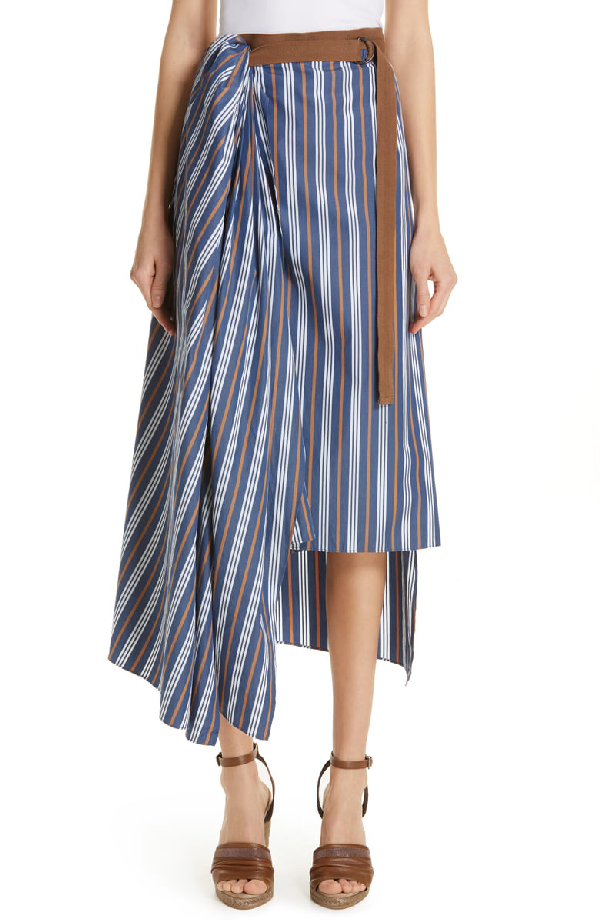 5881a42632 Brunello Cucinelli Striped Cotton Wrapped Midi Skirt In Oxford ...