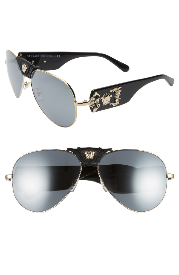 9a8d9d5e3319 Versace Medusa 62Mm Aviator Sunglasses - Pale Gold  Black Mirror ...
