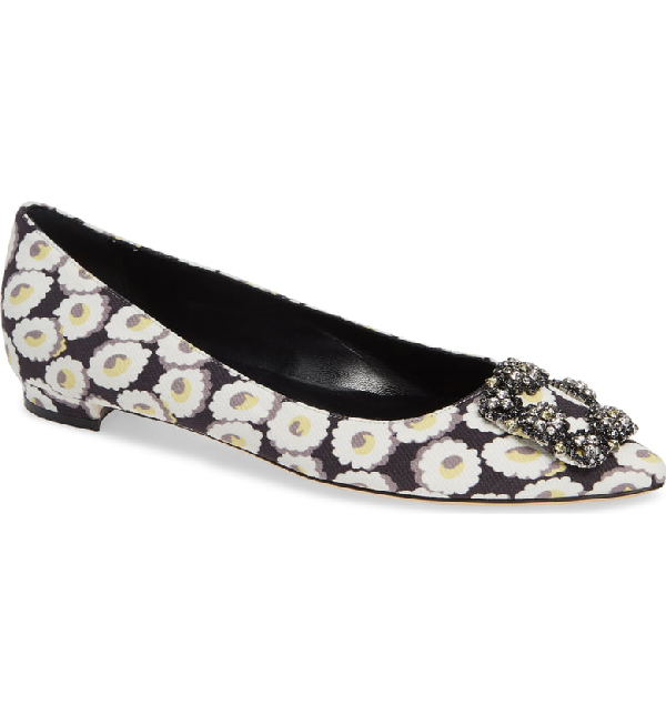 e481a8b9ca768 Manolo Blahnik Hangisi Crystal-Buckle Printed Satin Flat In White Floral  Print