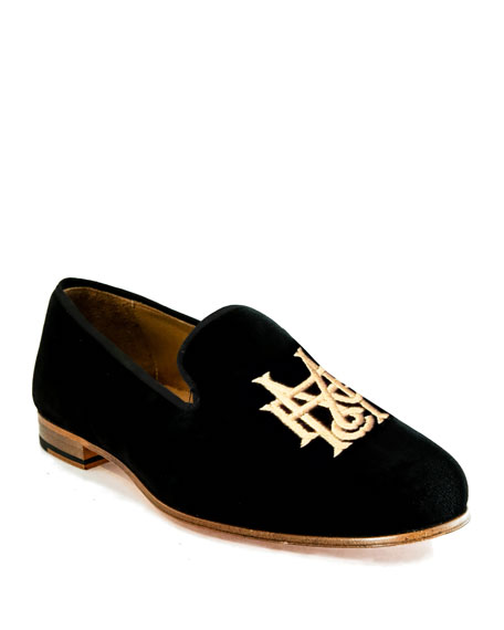 8c2e8e1ad1e22 Men's Embroidered Velvet Loafers in Black