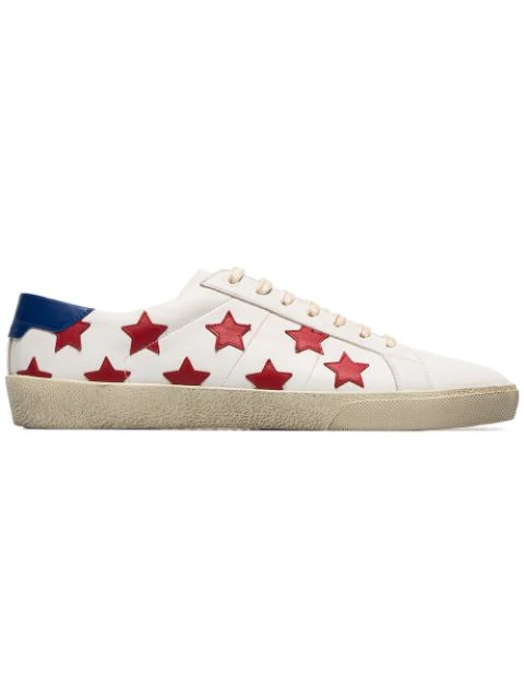 3682a2302bb Saint Laurent Sneakers Court Sl/06 In White Leather With Red Stars  Placement In 9460