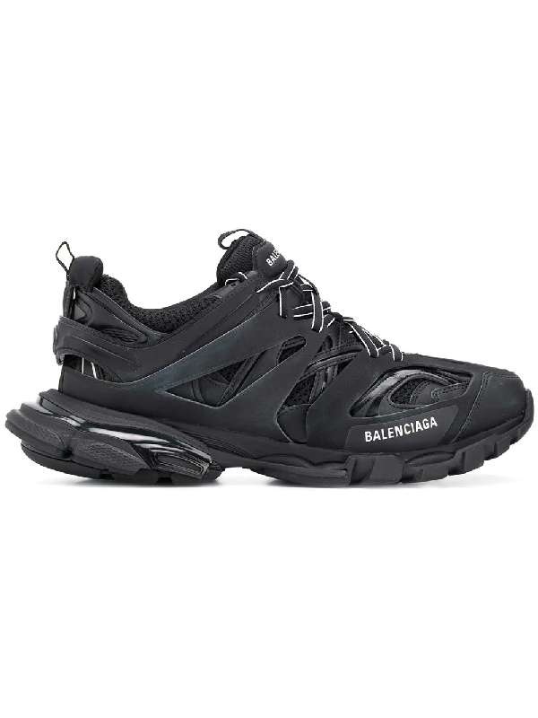 Balenciaga Track Leather, Mesh And Rubber Sneakers - Black