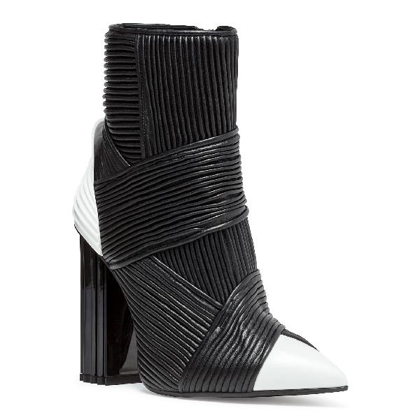 Balmain Irina Black Leather Boots In Black/White
