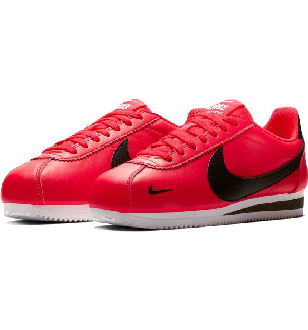 quality design 2add0 39b5b Nike Men s Classic Cortez Premium Leather Low-Top Sneakers In Red Orbit   Black