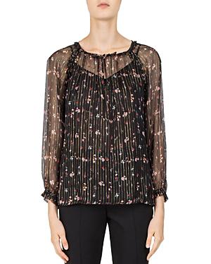 f2d08b2cd4c80f Gerard Darel Laurene Metallic Striped Floral Silk Blouse In Black ...