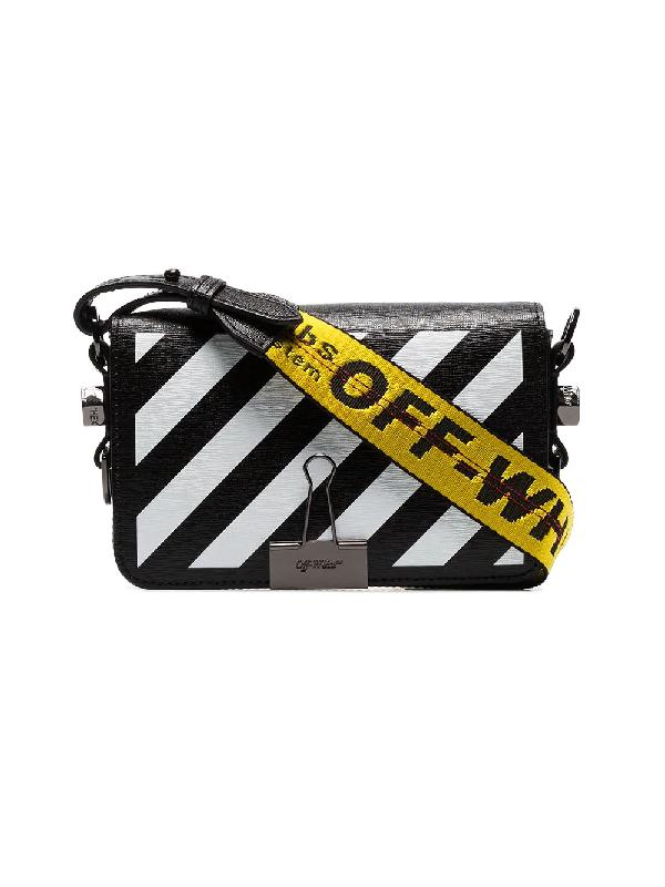 3247024d624942 Off-White Mini Diagonal Stripe Binder Clip Shoulder Bag In Black ...