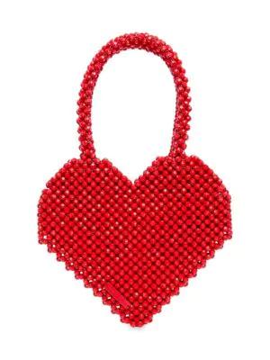 Loeffler Randall Maria Heart Beaded Tote In Red