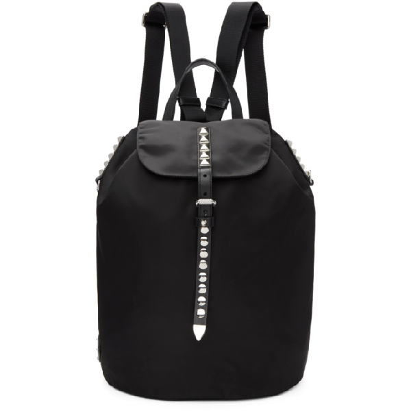 6301092de081 Prada Black Studded New Vela Backpack In F0002 Black | ModeSens